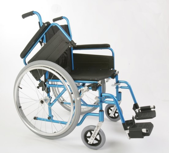 ESTEEM TRANSIT ALU WHEELCHAIR WITH ATTENDANT BRAKES & FLIP UP ARMS, ICE BLUE